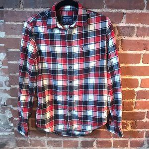 AEO American Eagle Prep Fit Red & Black Flannel